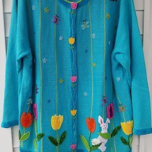 Quacker Factory Blue Spring Flowers/Bunny Cardigan